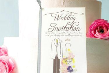 花畑ドレスの招待状無料テンプレート
